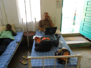 Rev. DiCanio being treated for Malaria in Monrovia, Liberia.