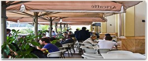 The small veranda at the Artcaffe in Nairobi's Westgate Mall where El Shabaab terrorists began their attack on September 21, 2013 (Photo taken from the mall's website)
