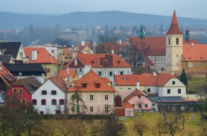 Cesky Krumlov houses with red brick roofs, Czech Republic.